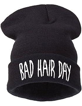 4sold (TM) Hombres de las mujeres gorro de invierno cálido Negro Bad Hair Day
