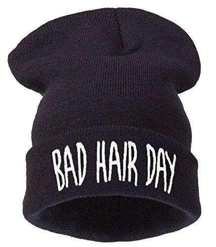 '4sold (TM Mütze Aufschrift Bad Hair Day ' schwarz noir - bhd black white Einheitsgröße