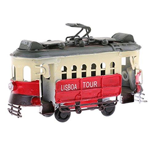 MagiDeal Nostalgisches Diecast Miniatur Oberleitungsomnibus / Obus Fahrzeug Modell Blechspielzeug - Rot