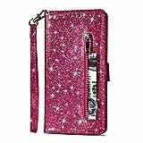 Karomenic kompatibel mit Huawei P30 PU Leder Hülle Reißverschluss Glänzend Glitzer Handyhülle Brieftasche Silikon Strass Schutzhülle Klapphülle Magnet Ledertasche Flip Case Etui,Rose rot