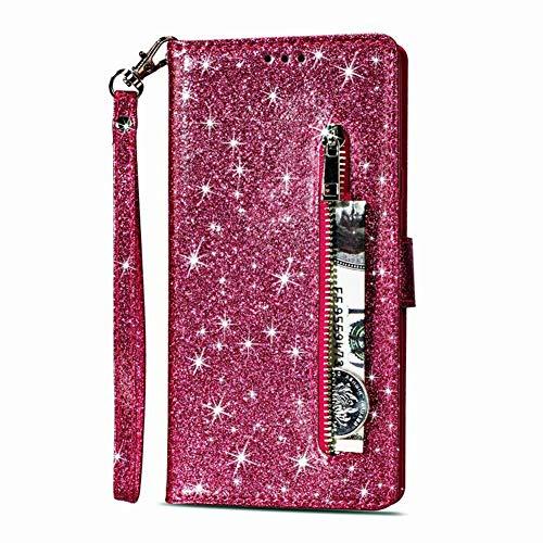 Karomenic kompatibel mit Huawei P20 Lite PU Leder Hülle Reißverschluss Glänzend Glitzer Handyhülle Brieftasche Silikon Strass Schutzhülle Klapphülle Magnet Ledertasche Flip Case Etui,Rose rot - Vintage-rose-taste