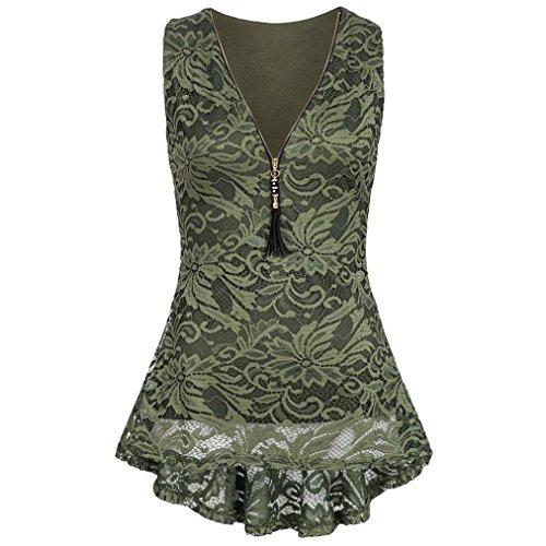 MOIKA Damen Tank Tops, New Frauen-Blumenspitze reißen Trägershirt-Sleeveless dünne Weste-Reine Elegante T-Shirts hoch(L,Grün)
