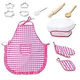 Koowaa 11 stücke Kinder Chef Set Kinder Kochen Spielen Küche wasserdichte Backschürzen Ofenhandschuh Schneebesen Mädchen Geschenk