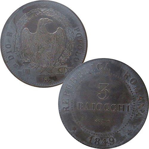 Moneta collezione 3 baiocchi repubblica romana 1849 aquila con fascio littorio