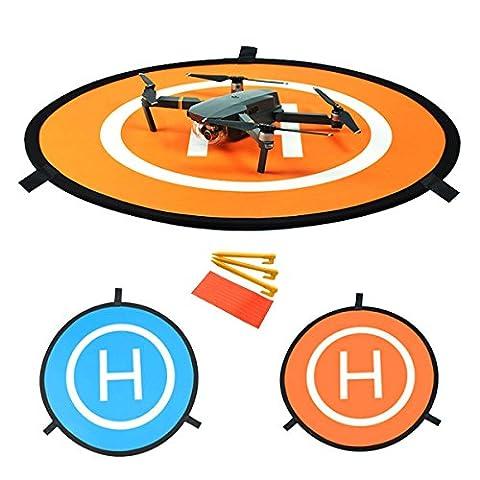 WisFox Mini héliport de piste pliable pour DJI Mavic Pro Drone / DJI Phantom 2/3/4 Inspire Antel Robotic, 3DR Solo & More- Universal Waterproof Portable Foldable Landing Pads Élargissez diamètre 75cm, 30cm plié diamètre