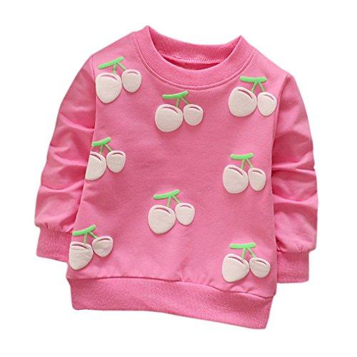 Cartoon Erdbeer Kirsche Print T-Shirt Kleinkind Kind, DoraMe Baby Jungen Mädchen Lange ärmel Pullover Warme Bluse O-Ausschnitt Sweatshirt für 0-3 Jahr (B-Rose Rot, 24 Monate) (Kinder-kleinkind-shirt)
