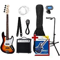 Rocktile Groover's Pack JB E-Bass Set III Sunburst + Clip Tuner + Guitar Stand