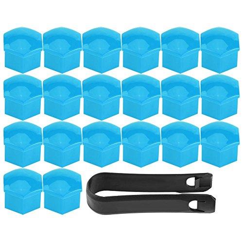 20pcs Écrou de Roue de Jante Coque Pneu Bouchon à Vis Capuchons Protecteur Hexagonal Universelle Moyeu de Pneu 17mm Couvre Ecrou Bouchon de Culasse Multi Couleur en Option (Blue)