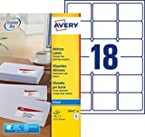 Avery 720 Etiquettes Autocollantes (18 par Feuille) - 63,5x46,6mm - Impression Jet d'Encre - Blanc - J8161