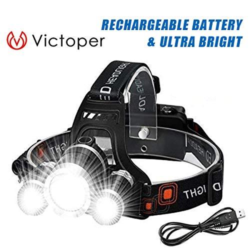Victoper BORUIT Wesho Rechargeable avec 3 lumières 4 Modes, 6000 lumens IPX5 Étanche, Lampe Frontale LED Super Lumineuse avec Câble USB et 2 Batteries