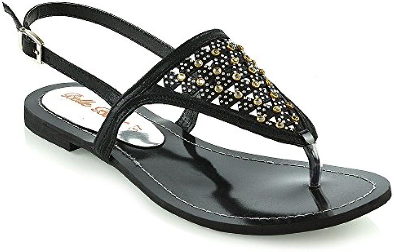 À coupé la sandale sandales orteil coupé À post - mesdames flat diamante tongs chaussures taille f97670