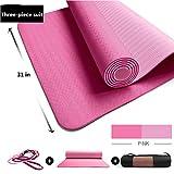 KPKP Tapis de Yoga TPE Bicolore épais Tapis Anti-dérapant Long Dame Tapis de Fitness pour la Maison (Taille 72 Pouces x 31 Pouces)