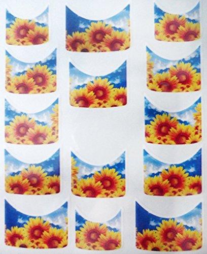 Nail art manucure stickers ongles scrapbooking: 14 décalcomanies motifs tournesols ciel bleu