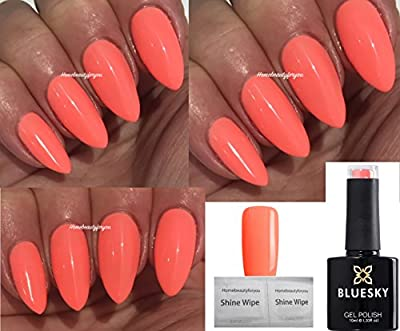 Bluesky CalifornIa Coral Peach Neon Coral Spring Summer Coral Nail Gel Polish UV LED Soak Off 10ml PLUS 2 Homebeautyforyou Shine Wipes