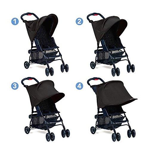 xcsourcer-cochecito-para-bebes-sombra-de-sol-proteccion-uv-rayos-cubierta-toldo-negro-wv248