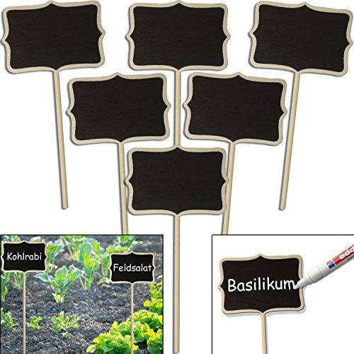 HomeTools.eu – 6X Klassische Holz Pflanz-Schilder   Beet Balkon Kräuter-Garten Blumen-Kübel   Landhaus   beschreibbar, 17cm, Classic, 6er Set