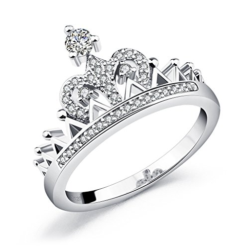 Eternity Love Queen Crown Womens Ring Silber-Ton 1.7mm Band (Crown Queen's)