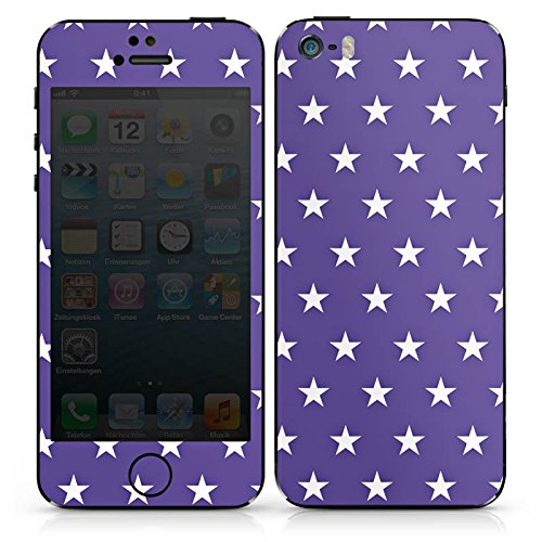 Apple iPhone 5s Case Skin Sticker aus Vinyl-Folie Aufkleber Sternchen Rockabilly Lila DesignSkins® glänzend