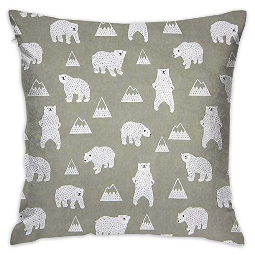 FPDecor Funda de Almohada, Square Cushion Covers White Bear Pattern Throw Pillow Covers Cases Super...