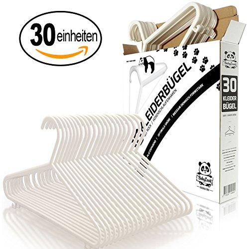 Babylovit 30 Stück Kinderkleiderbügel | starke & formstabile Babykleiderbuegel in weiß | für Baby- und Kinderbekleidung (Weiß) -