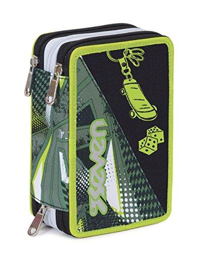 Estuche Escolar 3 Pisos – Seven – Freestyle – Multi Compartimentos con lápiz, rotuladores, boligrafos…Verde Gris