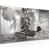 Bild Buddha Feng Shui Wandbild Vlies - Leinwand Bilder XXL Format Wandbilder Wohnzimmer Wohnung Deko Kunstdrucke Grau 1 Teilig - MADE IN GERMANY - Fertig zum Aufhängen 503414b