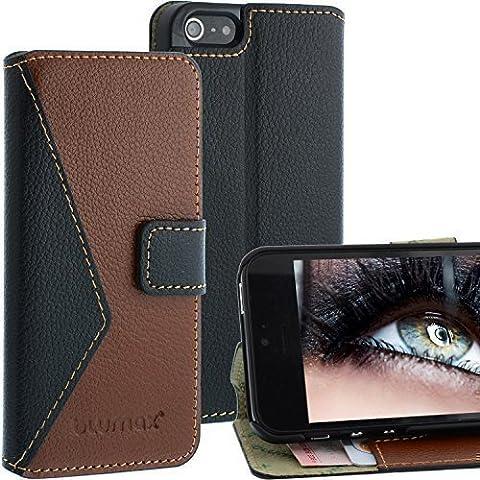 Elegantes Leder Wallet Case Mixed für Apple iPhone SE / 5 / 5s - Filo Schwarz / Braun - mit Magnetschnalle mit Fächern für sämtliche Visitenkarten / Kreditkarten im Bookstyle, Echt Leder von Blumax
