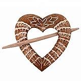 Purpledip Wooden Curtain Holder Tie Back Drape Clips 'Loving Heart': Set Of 2 (11146)