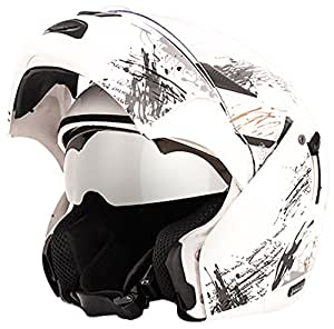 Vega Boolean Give Up Flip-up Graphic Helmet with Double Visor (White and Silver, M)