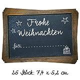 25 Stück Aufkleber Etikett FROHE WEIHNACHTEN Geschenkaufkleber schwarz weiß 7 x 5 cm Namensschilder Namensaufkleber Geschenke Verpackung weihnachtliche Sticker selbstklebend