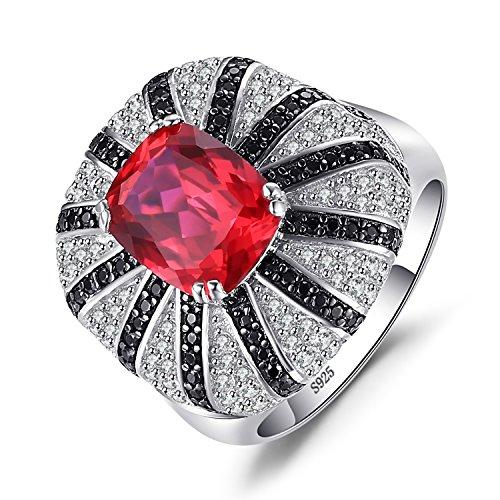 3.9ct Erstellt Roter Rubin Natürlicher Schwarzer Spinell Cocktail Ring Massiver 925 Sterling Silber Ring ()