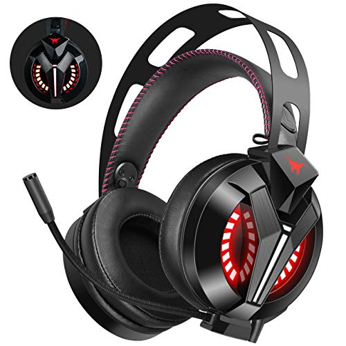 COMBATWING Lightning II Gaming-Headset, Spiel-Headset mit lärmreduziertem Mikrofon & 7.1 Stereo, leichtgewichtige Over-Ear Kopfhörer mit LED, Mikrofon / Lautstärkeregler für PS4, Xbox One, PC, Switch