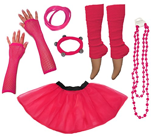 Neon 80s Pink Tutu Skirt with Accessories - Sizes 8 to 24