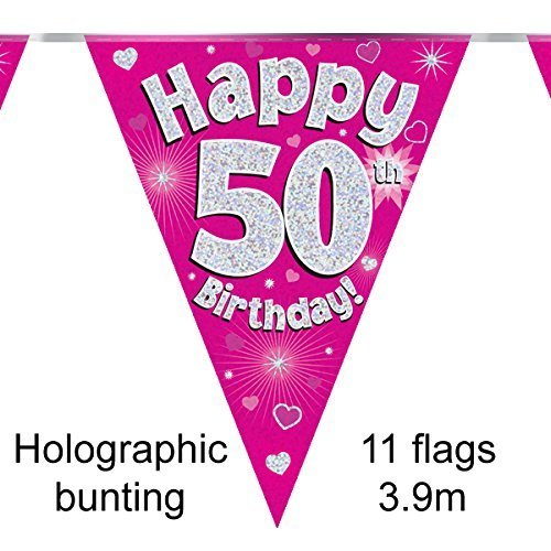 Happy 50th Birthday Pink Holographic Foil Party Bunting