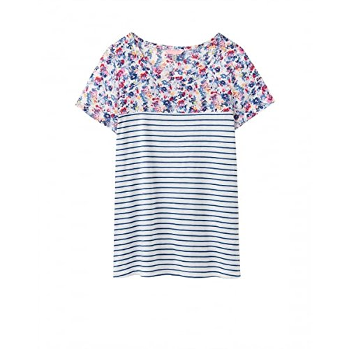Joules Ladies Cream Garden Ditsy Suzy Jersey Woven Mix T Shirt