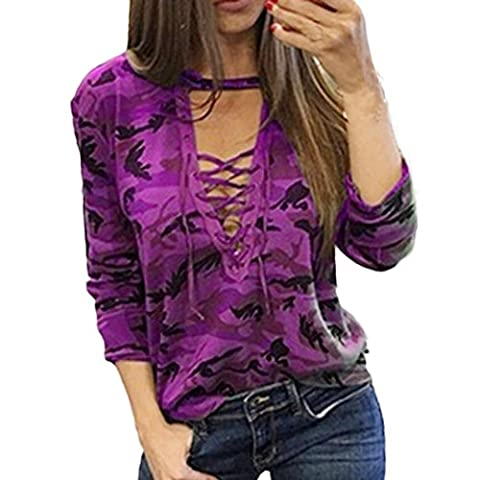 Femmes Sexy Salopette Hauts, Reaso Mode Loisir Camouflage Manches longues Chemise Shirt Tops Blouse (L, Violet)