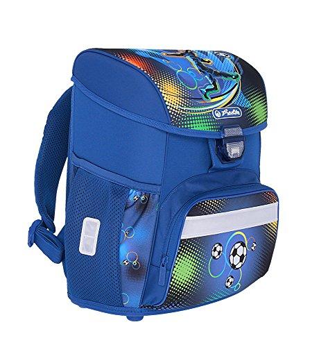 herlitz 50007950 Schulranzen Loop Plus, Klickschloss, ergonomisches Rückenpolster, 16-teiliges Schüleretui, Sportbeutel, Faulenzer rund, Motiv: Soccer, 1 Stück - 11
