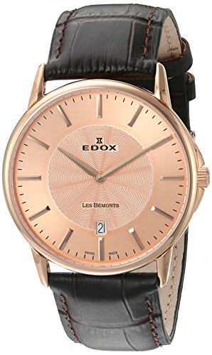 EDOX-56001 37R ROIR-Orologio Unisex al quarzo, cinturino in pelle, colore: marrone
