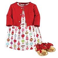 فستان وكارديجان وحذاء للفتيات الصغار من ليتل تريجر Glitzmas 3-piece 9-12 Months