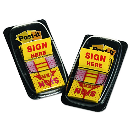 """Arrow Message 1"""" Flags, """"Sign Here"""", Yellow, 2 50-Flag Dispensers/Pack"""