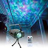 Wishwill Bühnenbeleuchtung tragbarer LED Wellenprojektor, 7 Farben, mit Fernbedienung, LED RGB Lampe, für Clubs, Party, Dekoration