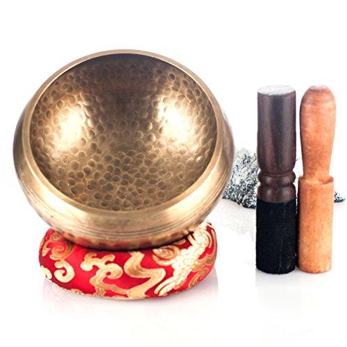 """Kangrinboqe 5.2 """"Méditation Grade martelé chanter bol tibétain avec deux Mallet et Coussin Anneau de soie -Reall Grand cadeau pour la guérison, le yoga, la relaxation, le zen, le chakra et la musique - Fait à la main au Népal"""
