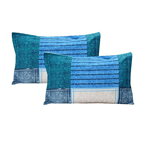 The Intellect Bazaar Cotton Pillow Cover Set(2 pieces),Blue