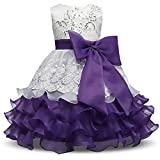 NNJXD Girl Ruffles Vintage Embroidered Sequins Flower Wedding Dress Size (130) 5-6 Years Purple