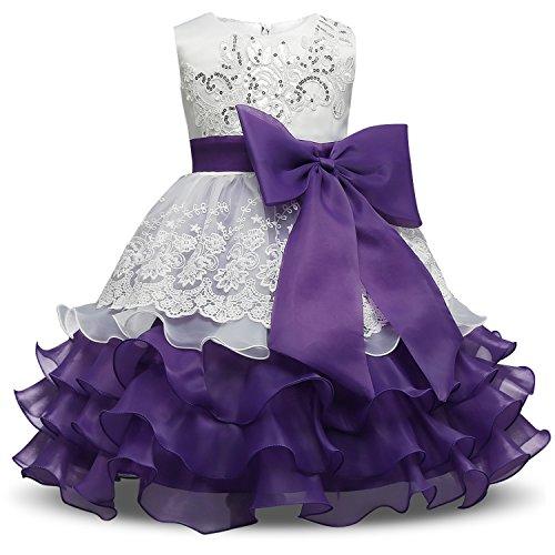 NNJXD Mädchen Rüschen Vintage Bestickt Pailletten Blume Hochzeitskleid Größe(140) 6-7 Jahre Lila