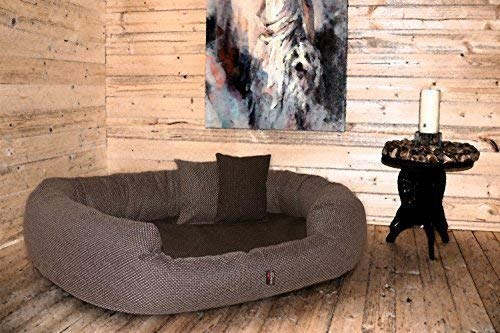tierlando Luxus orthopädisches Hundesofa BALOU Hundebett Visco Plus Matratze | Handwebcharakter | Premium-Lounge! Gr. XL 110cm Braun Töne