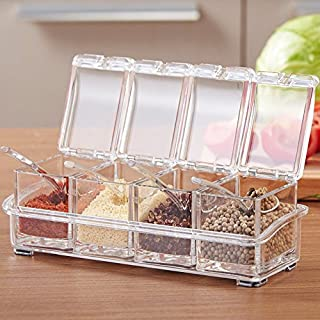Alicemall Seasoning Box Set 4 Piece Spice Rack Storage Container Condiment Seasoning Jars with Cover and 4 Serving Spoons (Type 3)