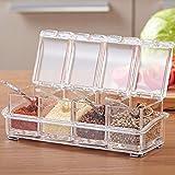 Alicemall Küche 4 Salz und Pfeffermühle Set Acryls Pfefferstreuer mit 4 Löffeln und 1 Gewürzregal Durchsichtig Eckig Abnehmbar