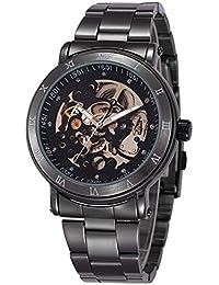 Alienwork Reloj Automático esqueleto mecánico Metal negro negro W9584-01
