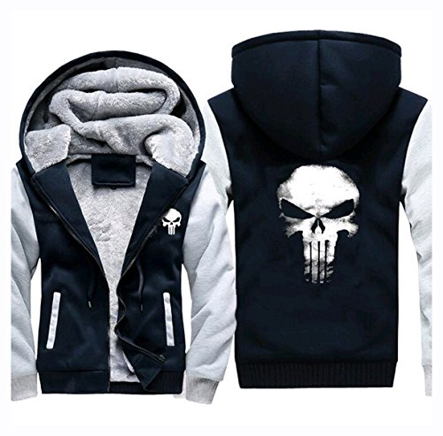 Hoodie Daredevil Kostüm - Punisher Hoodie Fuman Punisher Zip Up Pullover Cosplay Kostüm WinterJacke